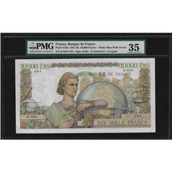 1951-56 France 10,000 Francs Currency Note Pick# 132d PMG Choice Very Fine 35
