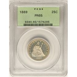 1889 Proof Seated Liberty Quarter Coin PCGS PR65 Old Green Holder