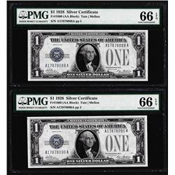 (2) Consecutive 1928 $1 Funnyback Silver Certificate Notes PMG Gem Uncirculated 66EPQ