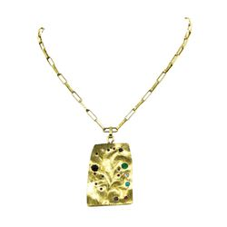 18KT Yellow Gold Medallion Pendant with Chain