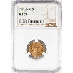 1925-D $2 1/2 Indian Head Quarter Eagle Gold Coin NGC MS62