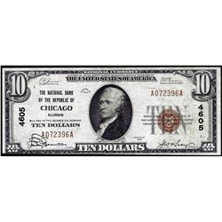 1929 $10 NB of the Republic Chicago, IL CH# 4605 National Currency Note