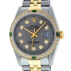 Rolex Mens Two Tone 14K Slate Grey & Emerald Diamond Datejust Wriswatch