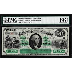 1872 $50 State of South Carolina Obsolete Note PMG Gem Uncirculated 66EPQ Low Serial