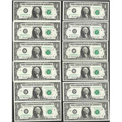 District Set of (12) 1974 $1 Federal Reserve Notes