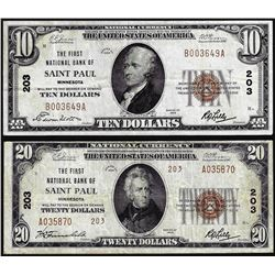 Set of 1929 $10/$20 Saint Paul, MN CH# 203 National Currency Notes