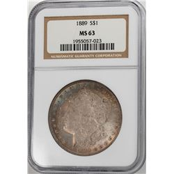 1889 $1 Morgan Silver Dollar Coin NGC MS63 Amazing Toning