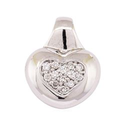 14KT White Gold 0.30 ctw Diamond Heart Motif Pendant