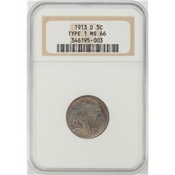 1913-D Type 1 Buffalo Nickel Coin NGC MS66