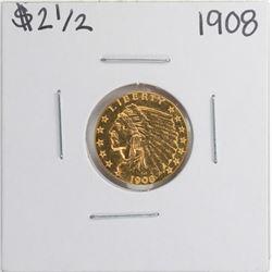 1908 $2 1/2 Indian Head Quarter Eagle Gold Coin