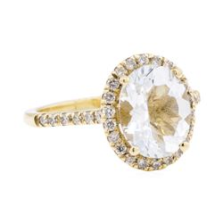 14KT Yellow Gold 2.65 ctw Aquamarine And Diamond Ring