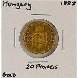1888 Hungary 20 Francs Gold Coin