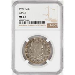 1922 Grant Commemorative Half Dollar Coin NGC MS63
