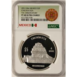 2011 Mexico 5 Pesos Chichen Itza Commemorative Silver Coin NGC PF68 Ultra Cameo