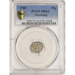 1785 Germany Nurnberg Pfennig Coin PCGS MS64