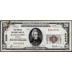 1929 $20 Peoples NB of Kansas City, KY CH# 9309 National Currency Note