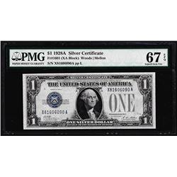 1928A $1 Funnyback Silver Certificate Note Fr.1601 PMG Superb Gem Uncirculated 67EPQ
