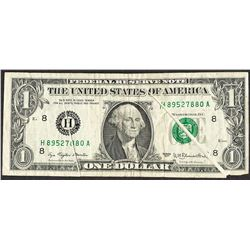 1977 $1 Federal Reserve Note Double Gutter Fold ERROR Note