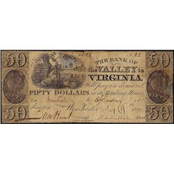 1800's $50 The Bank of the Valley in Virginia Obsolete Note