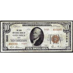 1929 $10 NB of Columbus, OH CH# 5065 National Currency Note