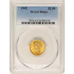 1902 $2 1/2 Liberty Head Quarter Eagle Gold Coin PCGS MS63