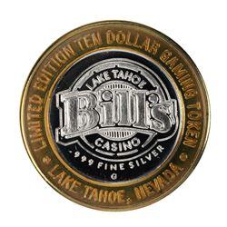 .999 Silver Bill's Casino Lake Tahoe, Nevada $10 Casino Gaming Token Limited Edition