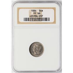 1886 Proof Three Cent Nickel Coin NGC PF66