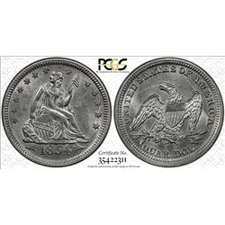 1854 Seated Liberty Quarter Coin PCGS MS62 Arrows