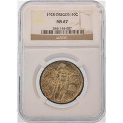 1928 Oregon Commemorative Half Dollar Coin NGC MS67