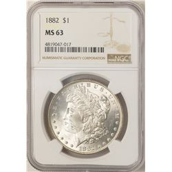 1882 $1 Morgan Silver Dollar Coin NGC MS63 Amazing Toning