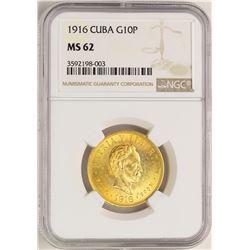 1916 Cuba 10 Pesos Gold Coin NGC MS62