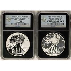 2013-W $1 Proof American Eagle Coins NGC PF69 & SP69 Enhanced Finish West Point Set