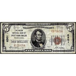 1929 $5 Mellon NB of Pittsburgh, PA CH#6301 National Currency Note