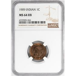 1909 Indian Head Penny Coin NGC MS64RB