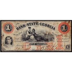 1861 $1 Bank of the State of Georgia Obsolete Note