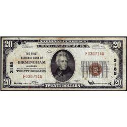 1929 $20 First NB Birmingham, AL CH# 3185 National Currency Note