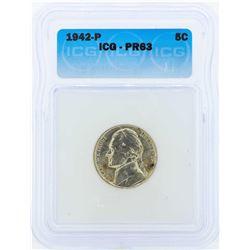 1942-P Jefferson Proof Nickel Coin ICG PR63