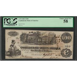 1862 $100 Confederate States of America Note T-39 PCGS About New 58