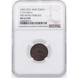 1863 Pro Bono Publico Civil War Token NGC MS63BN