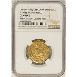 AH444-451 Ghaznavid Dinar AH433 Farrukhzad Gold Coin NGC Genuine Mule Ghazna Mint
