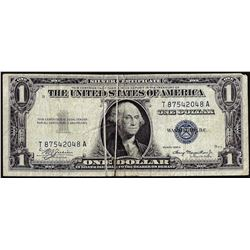 1935A $1 Silver Certificate Note Double Gutter Fold ERROR