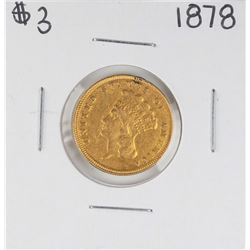 1878 $3 Indian Princess Head Gold Coin - Solder Mark on Top Rim