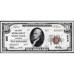 1929 $10 First NB of Saint Paul, MN CH# 203 National Currency Note