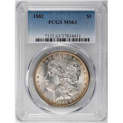 1882 $1 Morgan Silver Dollar Coin PCGS MS63
