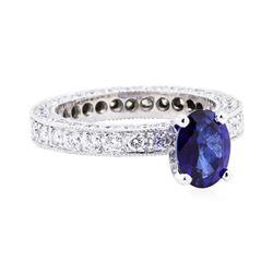 Platinum 3.08 ctw Sapphire and Diamond Ring