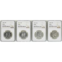Lot of 1960-1963 Proof Franklin Half Dollar Coins NGC PF66