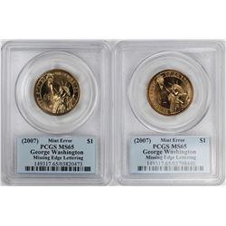 (2) 2007 $1 Washington Presidential Coins Missing Edge Lettering Error PCGS MS65