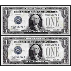 Lot of (2) Consecutive 1928A $1 Funnyback Silver Certificate Notes