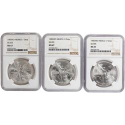Lot of (3) 1985 MO Mexico Libertad 1 Onza Silver Coins NGC MS67