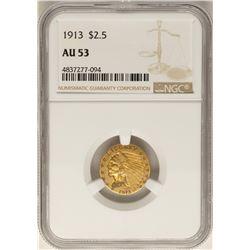 1913 $2 1/2 Indian Head Quarter Eagle Gold Coin AU53